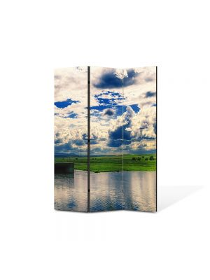 Paravan de Camera ArtDeco din 3 Panouri Peisaj Oglinda 105 x 150 cm