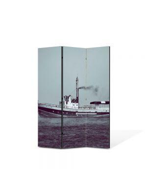Paravan de Camera ArtDeco din 3 Panouri Peisaj Barca 105 x 150 cm