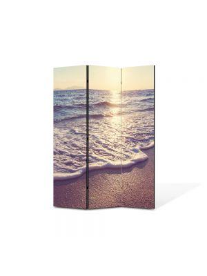 Paravan de Camera ArtDeco din 3 Panouri Peisaj Dimineata pe plaja 105 x 150 cm