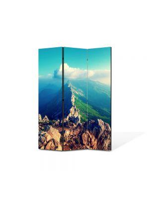 Paravan de Camera ArtDeco din 3 Panouri Peisaj Pe creasta muntelui 105 x 150 cm