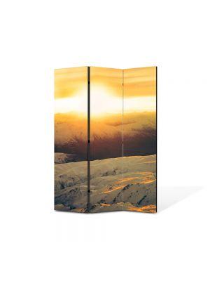 Paravan de Camera ArtDeco din 3 Panouri Peisaj Zapada si apus 105 x 150 cm