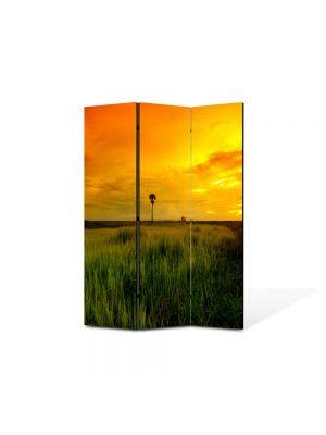 Paravan de Camera ArtDeco din 3 Panouri Peisaj Apus superb 105 x 150 cm
