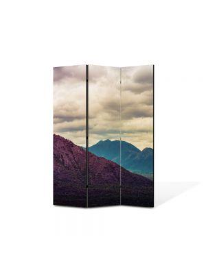 Paravan de Camera ArtDeco din 3 Panouri Peisaj Violet 105 x 150 cm