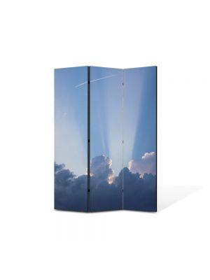 Paravan de Camera ArtDeco din 3 Panouri Peisaj Raze prin nori 105 x 150 cm