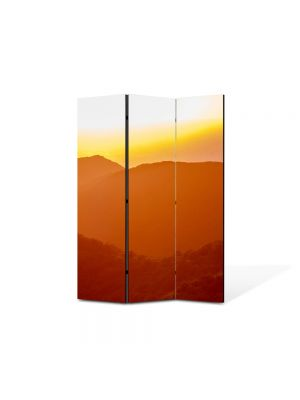 Paravan de Camera ArtDeco din 3 Panouri Peisaj Siluete de dealuri 105 x 150 cm