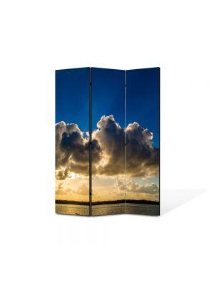 Paravan de Camera ArtDeco din 3 Panouri Peisaj Siluete de nori 105 x 150 cm