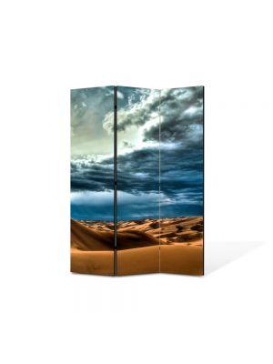 Paravan de Camera ArtDeco din 3 Panouri Peisaj Cer peste desert 105 x 150 cm