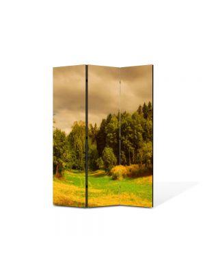 Paravan de Camera ArtDeco din 3 Panouri Peisaj Depresiune 105 x 150 cm