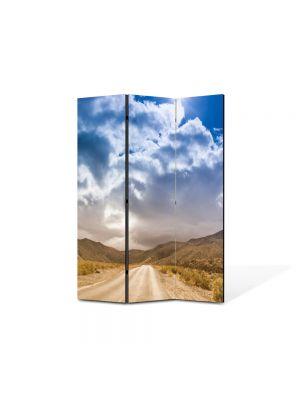 Paravan de Camera ArtDeco din 3 Panouri Peisaj Drum prin desert 105 x 150 cm