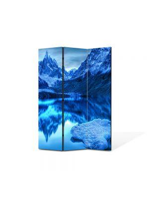 Paravan de Camera ArtDeco din 3 Panouri Peisaj Albastru in oglinda 105 x 150 cm