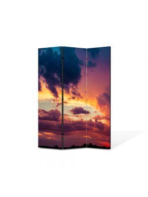 Paravan de Camera ArtDeco din 3 Panouri Peisajmul de nori 105 x 150 cm