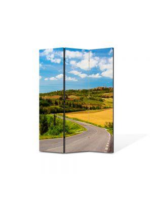 Paravan de Camera ArtDeco din 3 Panouri Peisaj Drum national 105 x 150 cm