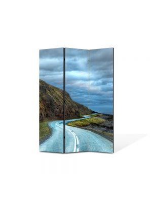 Paravan de Camera ArtDeco din 3 Panouri Peisaj Drum serpuit 105 x 150 cm