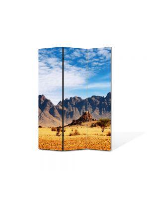 Paravan de Camera ArtDeco din 3 Panouri Peisaj In desert 105 x 150 cm