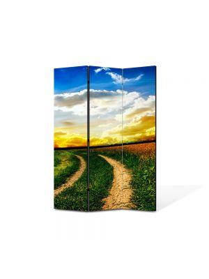 Paravan de Camera ArtDeco din 3 Panouri Peisaj Drum neasfaltat 105 x 150 cm