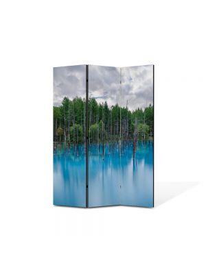 Paravan de Camera ArtDeco din 3 Panouri Peisaj Bleu 105 x 150 cm