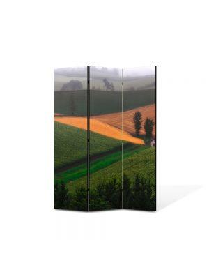 Paravan de Camera ArtDeco din 3 Panouri Peisaj Casa pe campie 105 x 150 cm