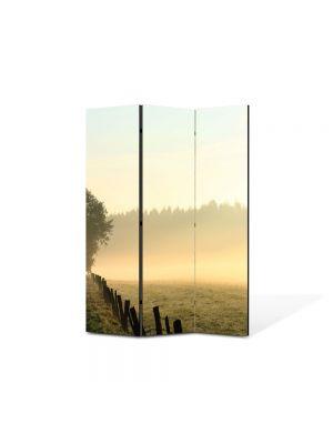 Paravan de Camera ArtDeco din 3 Panouri Peisaj Ceata 105 x 150 cm