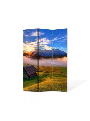 Paravan de Camera ArtDeco din 3 Panouri Peisaj Cabana de lemn 105 x 150 cm