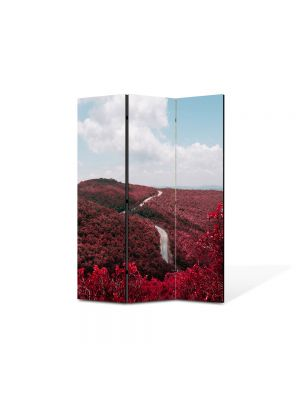 Paravan de Camera ArtDeco din 3 Panouri Peisaj Totul este rosu 105 x 150 cm