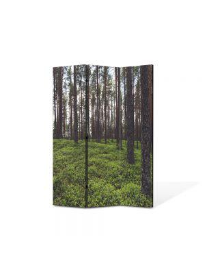 Paravan de Camera ArtDeco din 3 Panouri Peisaj Padure rara 105 x 150 cm