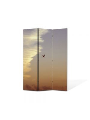 Paravan de Camera ArtDeco din 3 Panouri Peisaj Pasare in zbor 105 x 150 cm