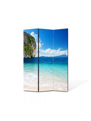 Paravan de Camera ArtDeco din 3 Panouri Peisaj Stanca in mare 105 x 150 cm