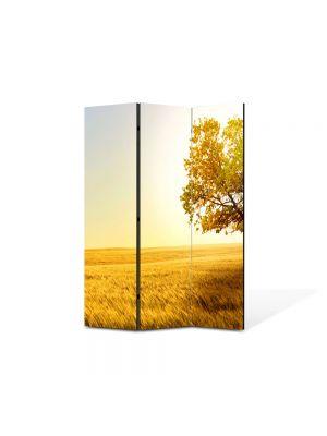 Paravan de Camera ArtDeco din 3 Panouri Peisaj Galben 105 x 150 cm