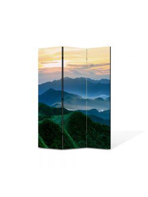 Paravan de Camera ArtDeco din 3 Panouri Peisaj Munti verzi 105 x 150 cm