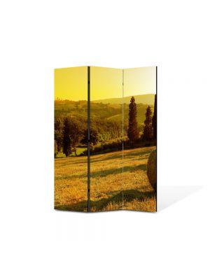 Paravan de Camera ArtDeco din 3 Panouri Peisaj Baloti de fan 105 x 150 cm