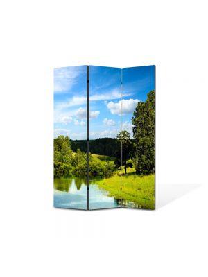 Paravan de Camera ArtDeco din 3 Panouri Peisaj Lac si padure 105 x 150 cm