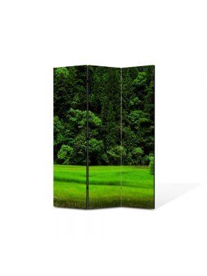 Paravan de Camera ArtDeco din 3 Panouri Peisaj Copacel pe campie 105 x 150 cm