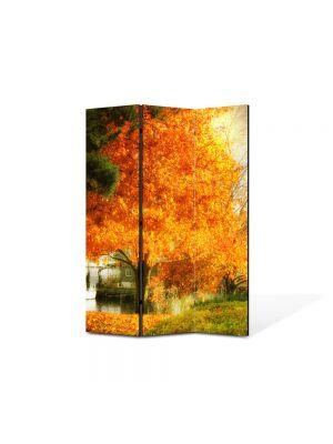 Paravan de Camera ArtDeco din 3 Panouri Peisaj Copac galben 105 x 150 cm