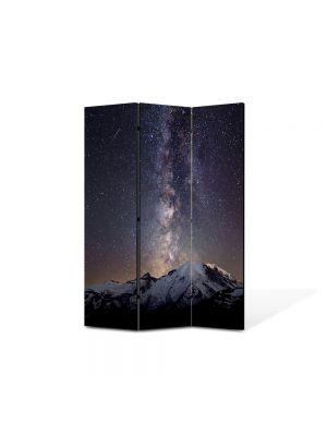 Paravan de Camera ArtDeco din 3 Panouri Peisaj Galaxie 105 x 150 cm