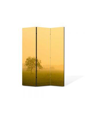 Paravan de Camera ArtDeco din 3 Panouri Peisaj Ceata la apus 105 x 150 cm