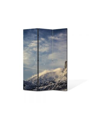 Paravan de Camera ArtDeco din 3 Panouri Peisaj Nori la poalele muntilor 105 x 150 cm