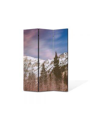 Paravan de Camera ArtDeco din 3 Panouri Peisaj Brazi de munte 105 x 150 cm