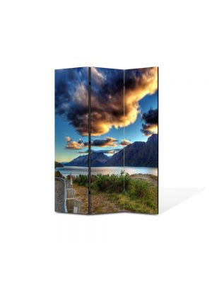 Paravan de Camera ArtDeco din 3 Panouri Peisaj Drum langa lac 105 x 150 cm