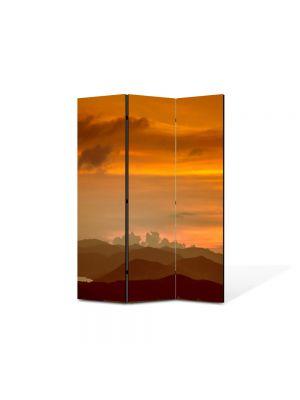 Paravan de Camera ArtDeco din 3 Panouri Peisaj Amurg 105 x 150 cm