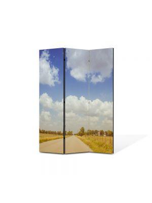 Paravan de Camera ArtDeco din 3 Panouri Peisaj Film american 105 x 150 cm