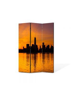 Paravan de Camera ArtDeco din 3 Panouri Peisaj New York 105 x 150 cm