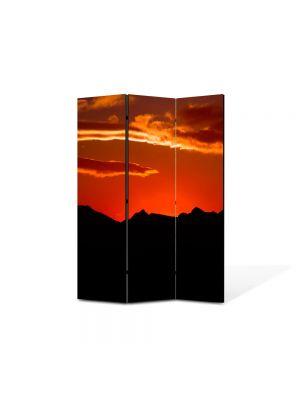 Paravan de Camera ArtDeco din 3 Panouri Peisaj Rosu si negru 105 x 150 cm