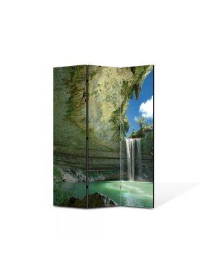 Paravan de Camera ArtDeco din 3 Panouri Peisaj Cascada ireala 105 x 150 cm