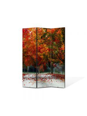 Paravan de Camera ArtDeco din 3 Panouri Peisaj Rosu puternic 105 x 150 cm