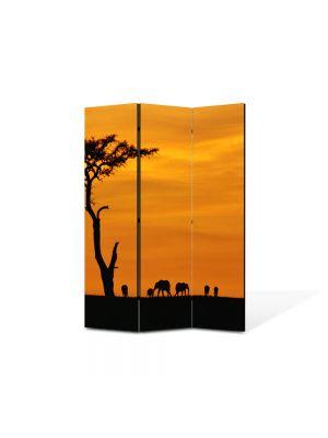 Paravan de Camera ArtDeco din 3 Panouri Peisaj Africa 105 x 150 cm