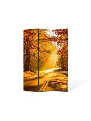 Paravan de Camera ArtDeco din 3 Panouri Peisaj Drum tomnatic 105 x 150 cm