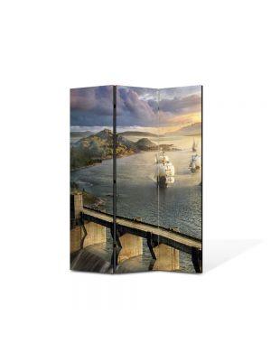 Paravan de Camera ArtDeco din 3 Panouri Peisaj Corabii 105 x 150 cm