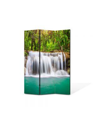 Paravan de Camera ArtDeco din 3 Panouri Peisaj Cascada mica 105 x 150 cm
