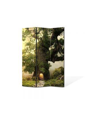 Paravan de Camera ArtDeco din 3 Panouri Peisaj Casa in copac 105 x 150 cm