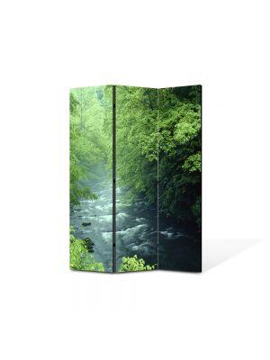 Paravan de Camera ArtDeco din 3 Panouri Peisaj Rau la munte 105 x 150 cm